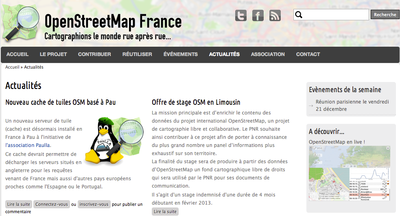 L'annonce officielle sur Open Street Map france