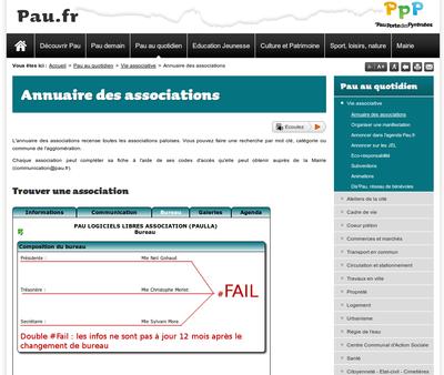 Fail du site de la ville de Pau sur la fiche de l'asso PauLLA